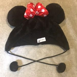 Minnie Mouse Disney Parks beanie with strings